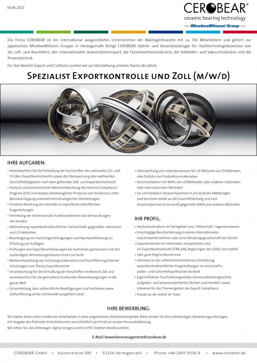 Export Control and Customs Specialist (m/f/d)